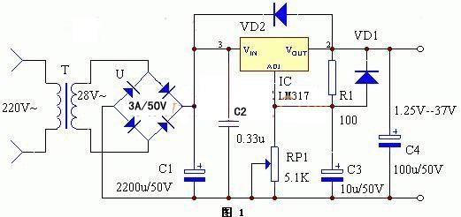 实际使用lm317三端集成稳压电路来实现较为简单. 电路原理图如下