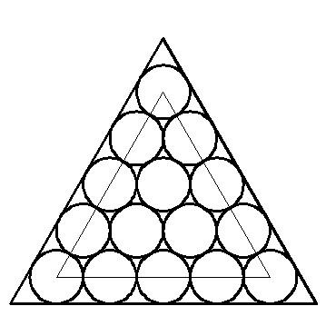 cad 2010正三角形内切 15个圆两两相切怎么画图片