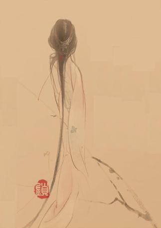 下雨打伞手绘美女 片