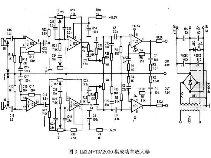 用lm324和tda2030a 制作的音频功放电路图有吗 在线等