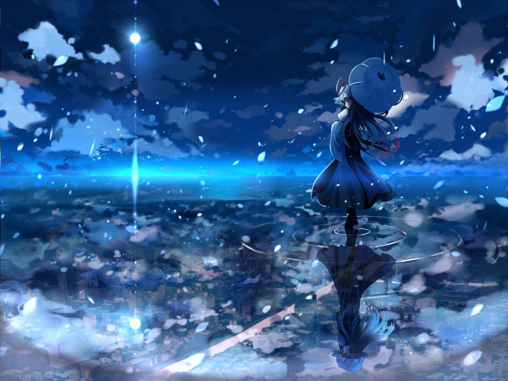 一个动漫女孩, 赤脚泡在水里,穿着类似和服的.