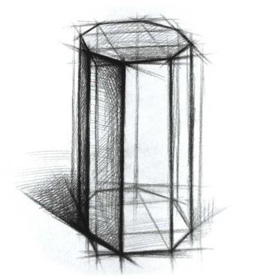 六棱柱透视素描怎么画