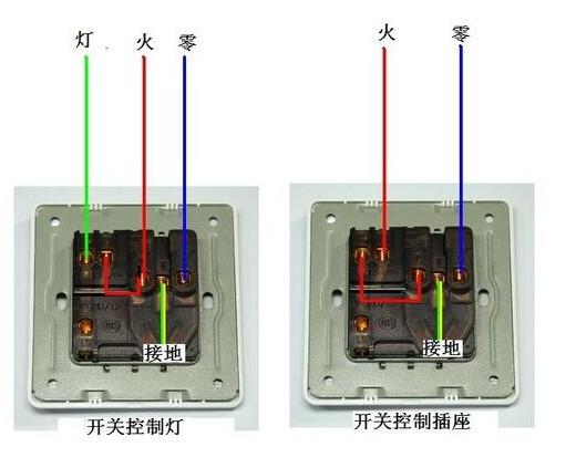 一开5孔有2种接线 方法:开关控制电灯的接法:1,火线接l ;2,找一段