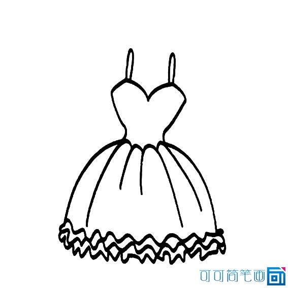 简笔画女孩的公主裙,男孩的礼服