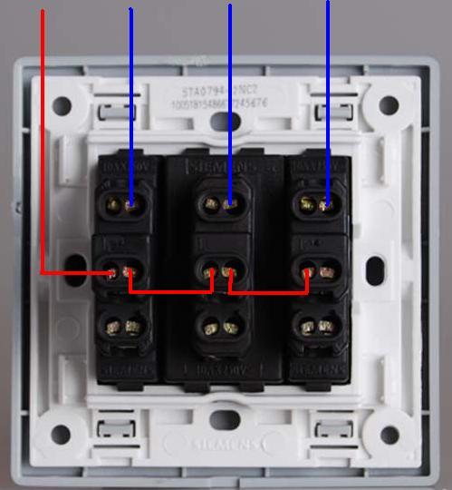 三开双控开关当单控用,怎么接线?如图所示,从上到下三