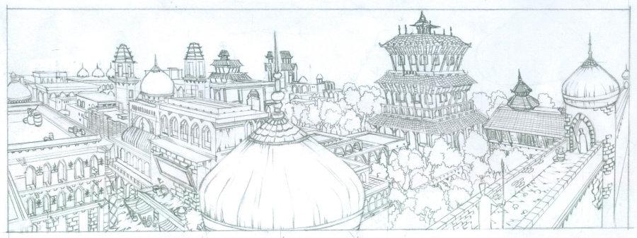 谁有动画场景的线稿,线条要圆滑一点的!插画类型也可以