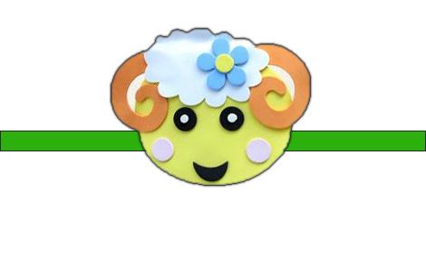 小朋友手工制作绵羊头饰图片
