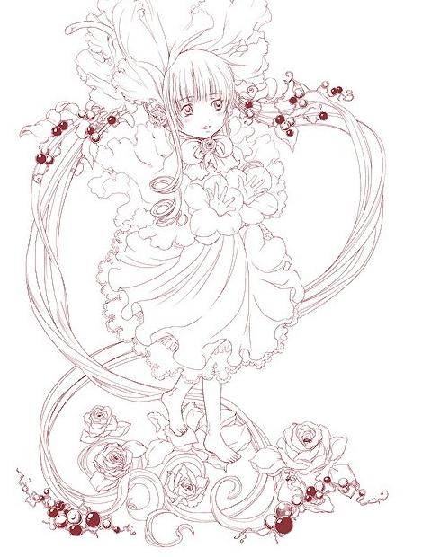 求一张一个妹子双手捧一大束玫瑰花的动漫图片,要正面