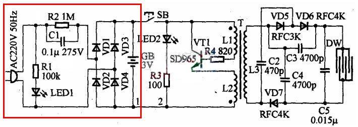 电路中发光二极管led2和限流电阻r3串联组成工作指示电路
