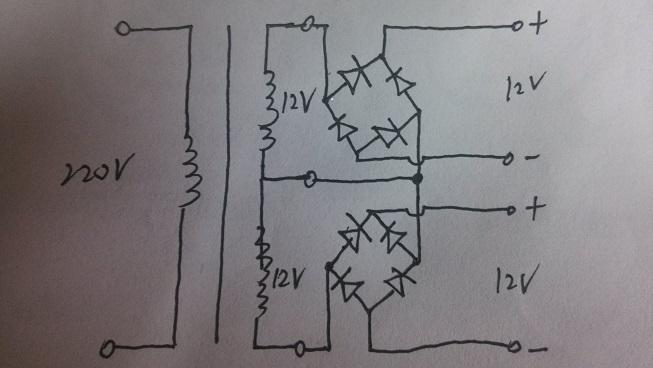 双12v的变压器可以这样接整流桥堆吗?
