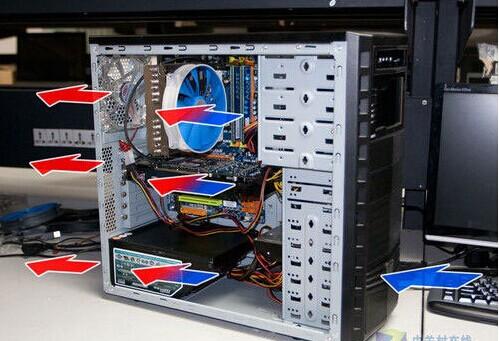 关于电脑主机风扇安装的问题.请问给主机装风扇 侧面俩 后面一个.