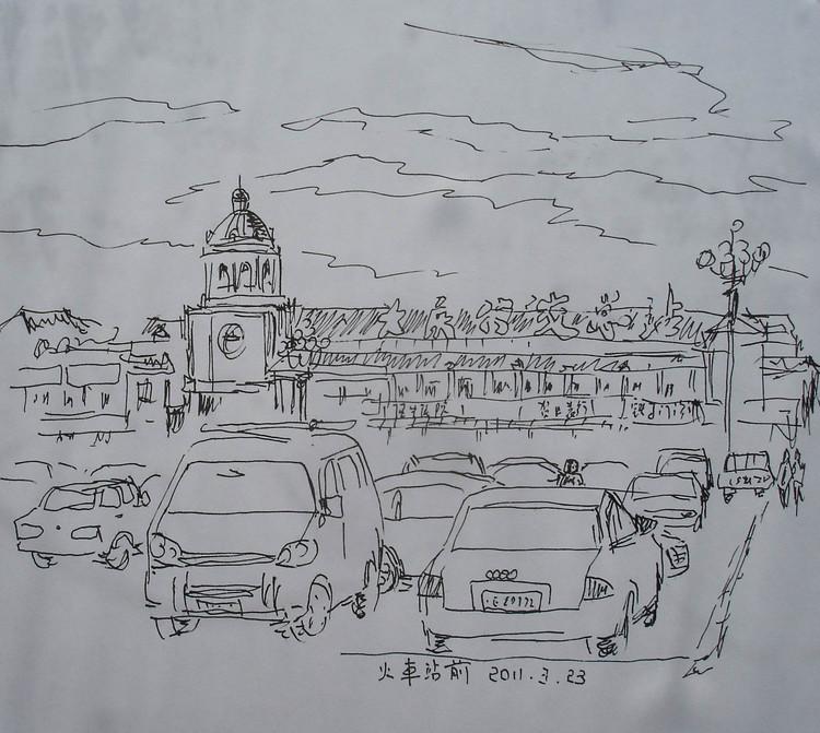 室外停车场手绘