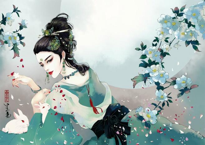 求几张唯美古风人物插画图片,中国风插画类的