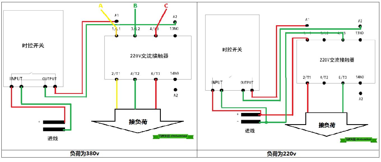 时控接交流接触器接线图,给个图.qq1355809423谢谢!