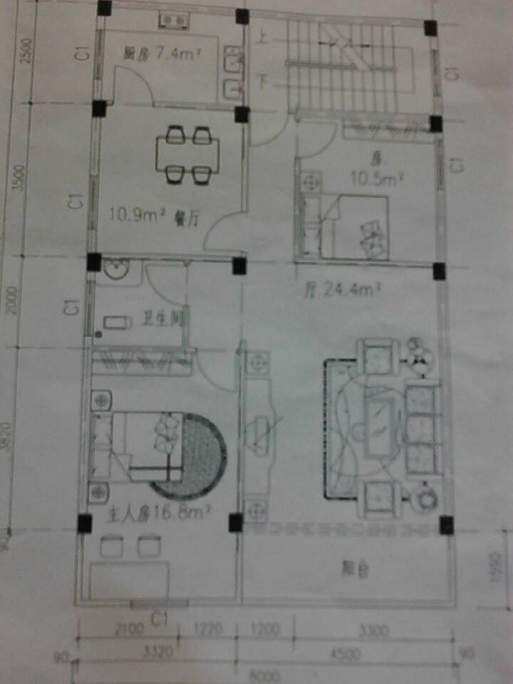 求建筑面积为8*12的房子建筑设计图