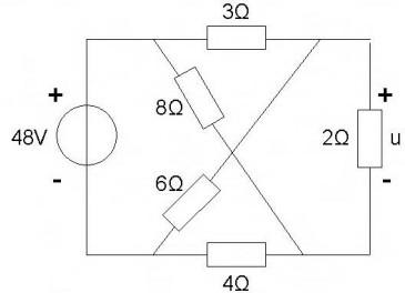 不平衡桥式电路求电压 ,求电压u