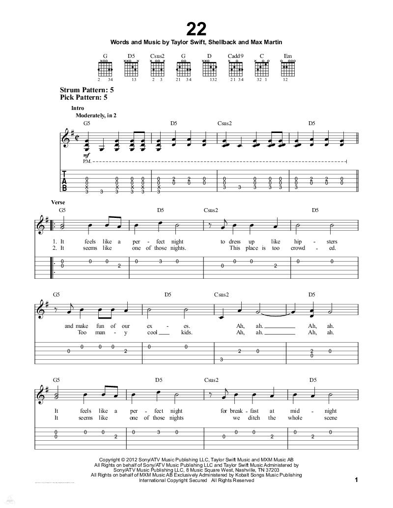 求taylor swift的22钢琴数字简谱带歌词