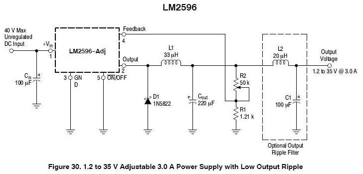 lm2596调压芯片应用电路图