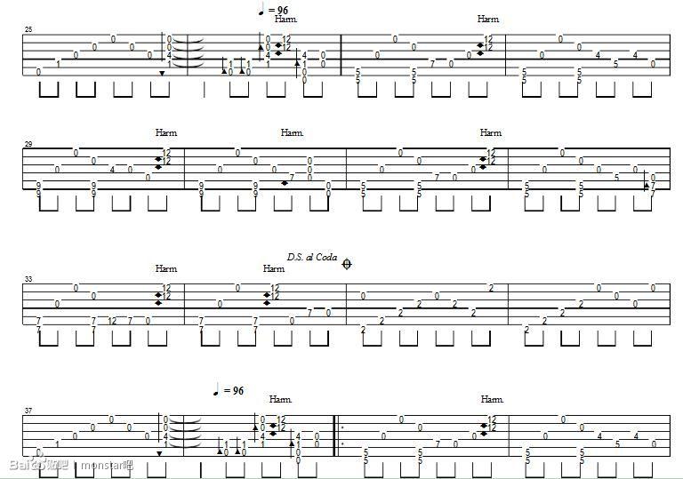 monstar简谱和弦吉他谱