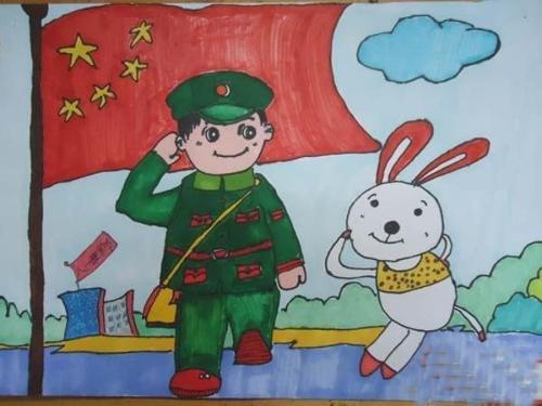 求 人物向国旗敬礼的 简笔画 . 急需.