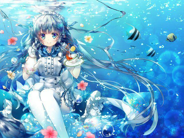 动漫人物在水里的图片
