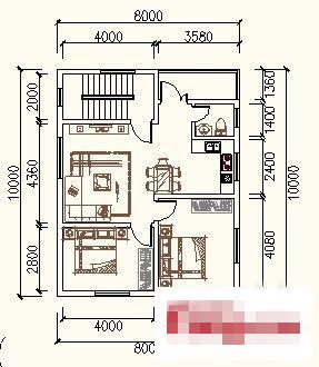 80平方米房屋设计图家里需要重新建房子(普通农村用)