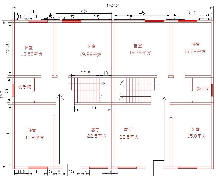 自建房子(90平方)结构图,不需要厨房,希望是两房一厅一卫生间的,还有