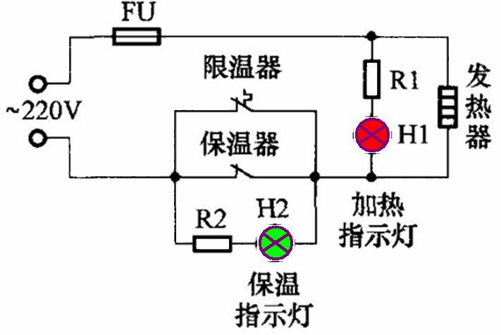 画出自动保温电饭锅电路原理图