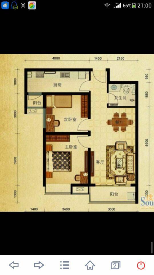 谁能画一张室内平面设计图?只要正常的两室一厅就ok了