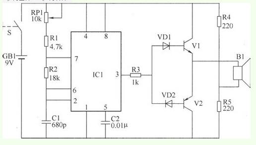 1 用555加两个电阻和两个电容组成一个振荡电路,这种555振荡电路网上