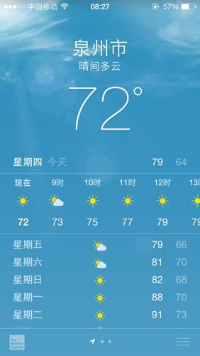 苹果5s天气预报怎么看?