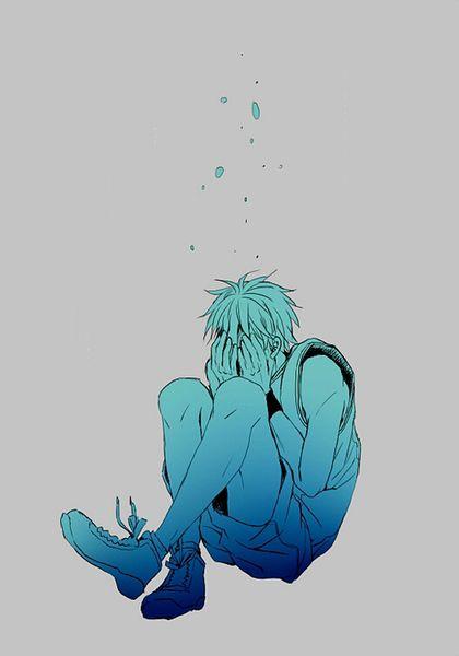 跪求一张动漫男生的这种埋头抱腿蹲着的图片