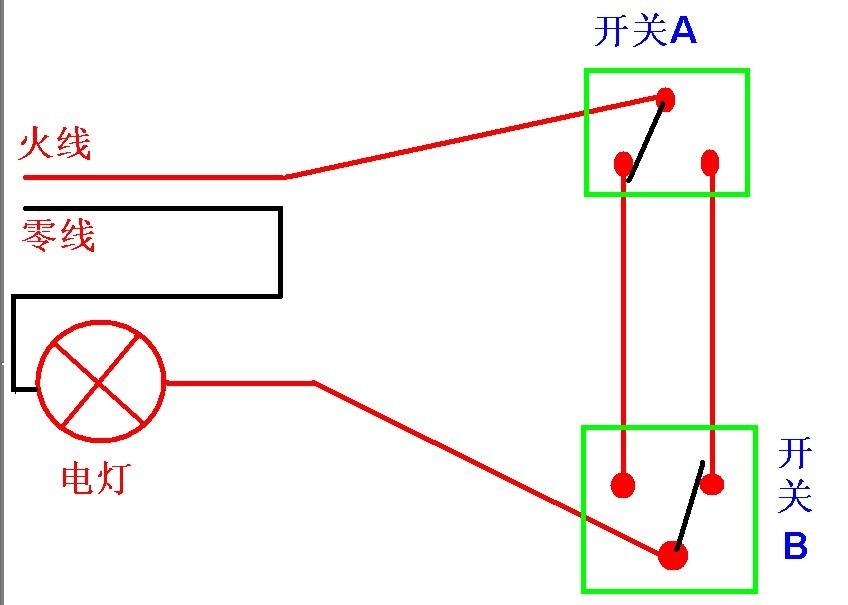 双开关控制一盏灯,火线与零线的接法?