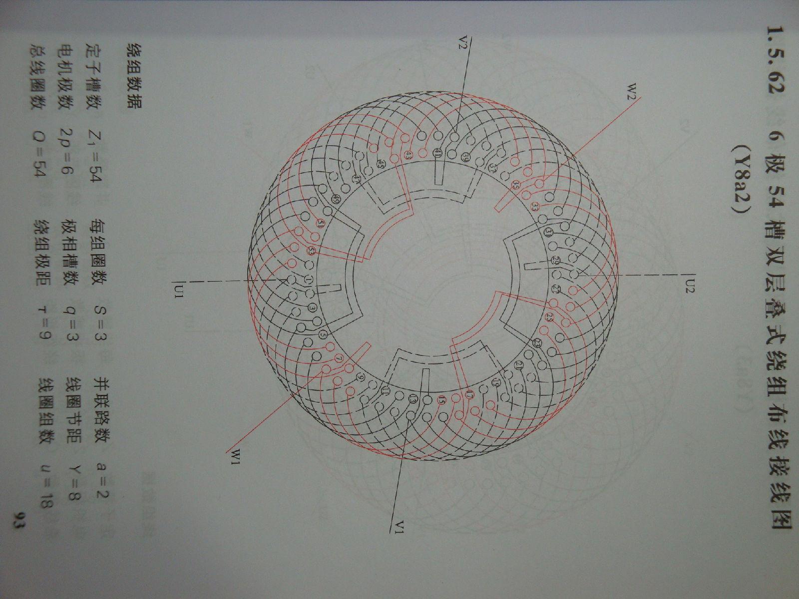 6极54槽三相异步电动机定子布线图(两路并联)