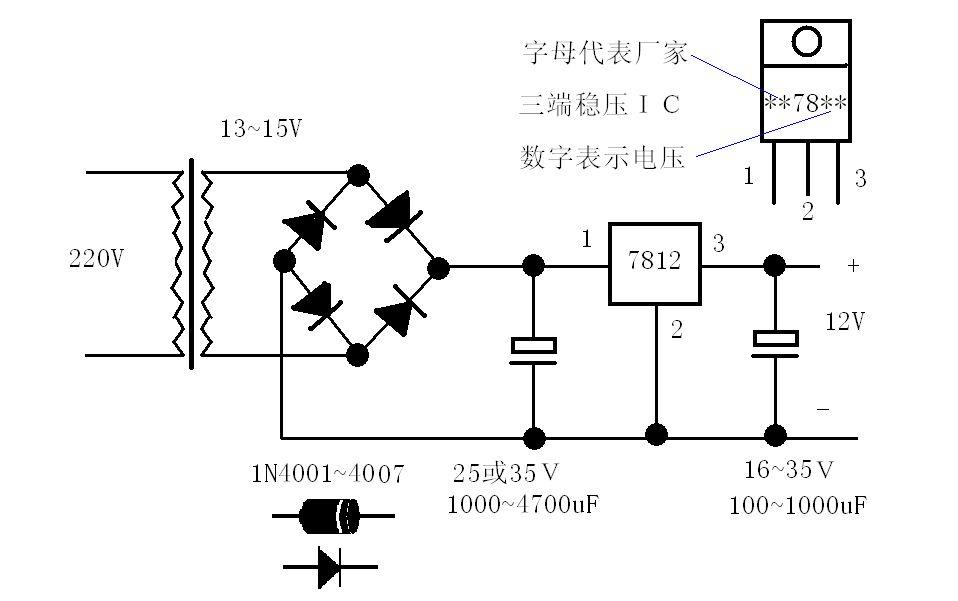 220v交流电转12v直流电的电路图,额.要有整流,滤波,稳压的电路图.