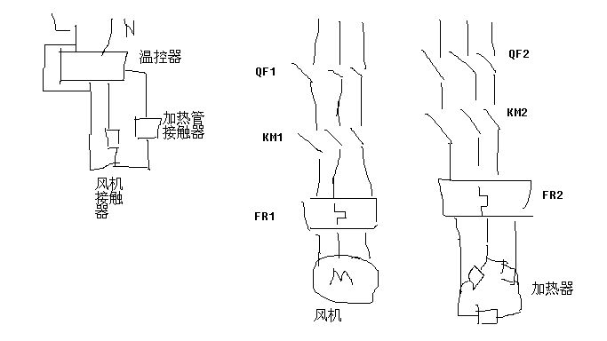 烧烤箱具体接线图(一个220v温控仪,两个380v交流接触器,一台风机,6根