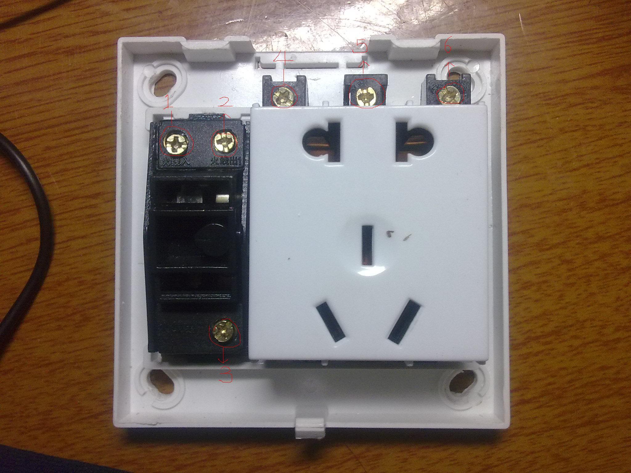 二三极五孔插座带开关接法 只有两条线的接法 带图图片