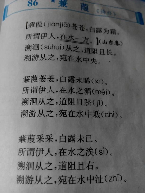 求诗经·秦风·蒹葭 全文.难读字要注音