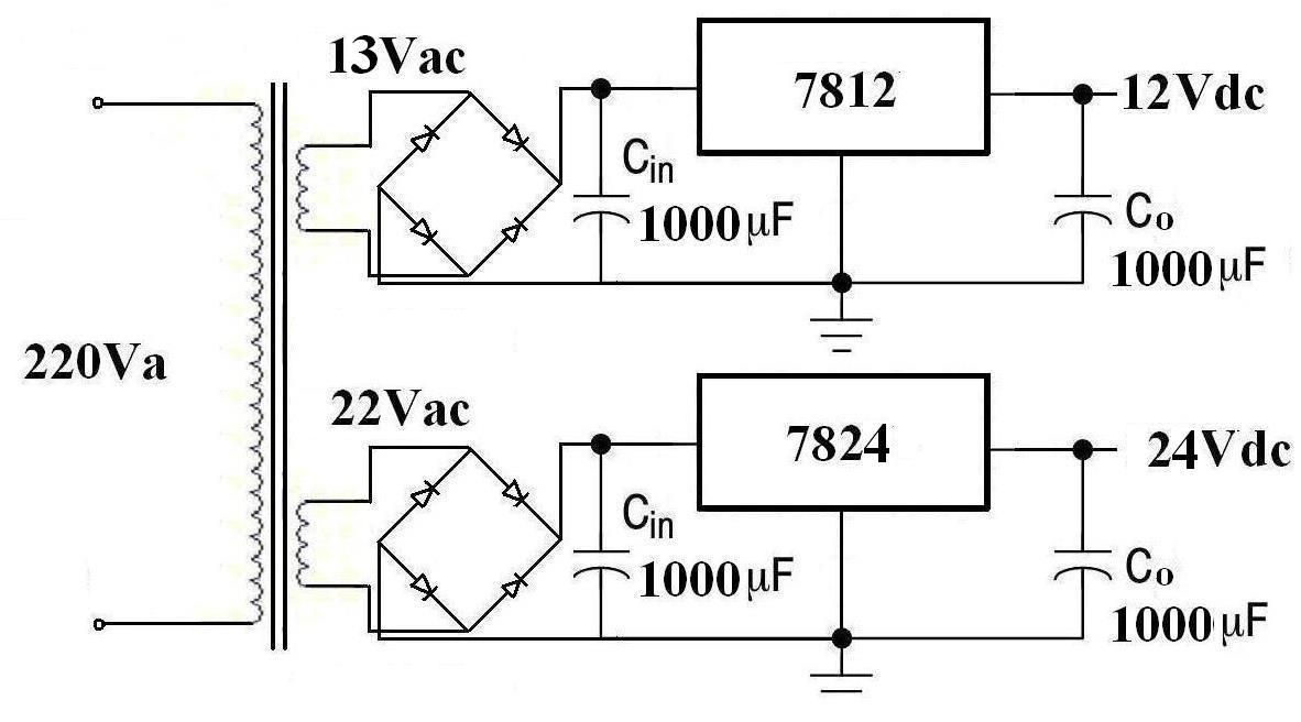 求输入220v交流输出24v和12v的双输出稳压电源电路图