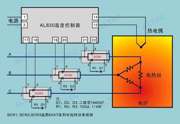 烘箱的温度控制电路接线图