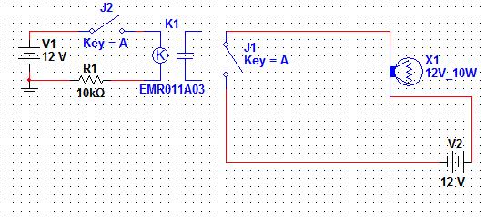 继电器线圈接通,j1就是继电器的,没办法反控制的,这个图是用j2的通断