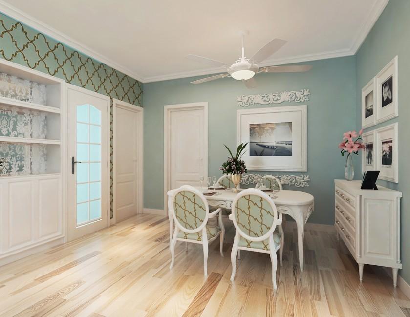 客厅是偏蓝色的乳胶漆和墙纸,主卧是绿色条纹的墙纸.