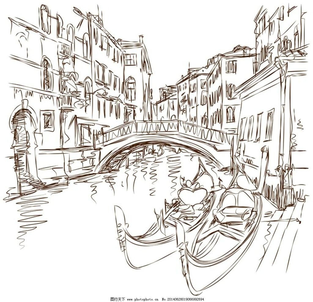 素描风景画桥的图片