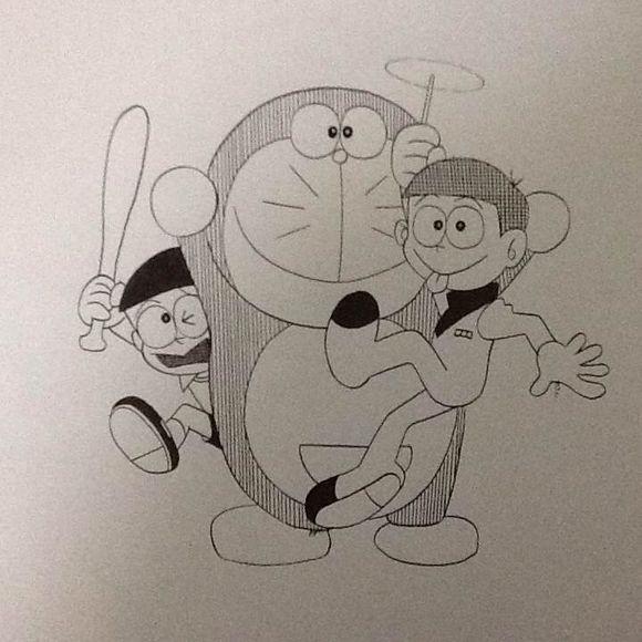 哆啦a梦素描铅笔画
