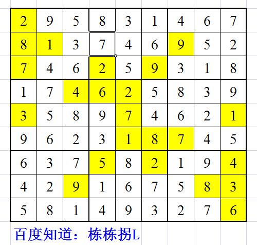 将数字1到9填入空格内,使每行,列 3*3小九宫格数字不重复.图片