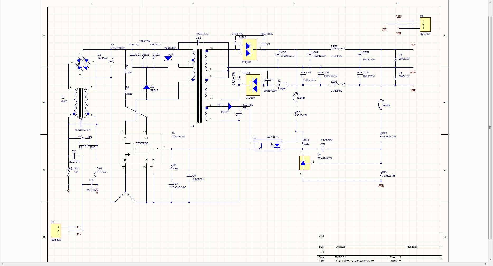 220伏电压转成从5伏电路图及其元件