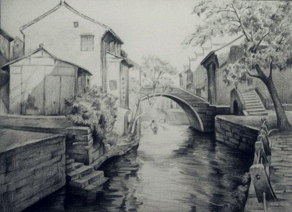 家乡风景画素描画