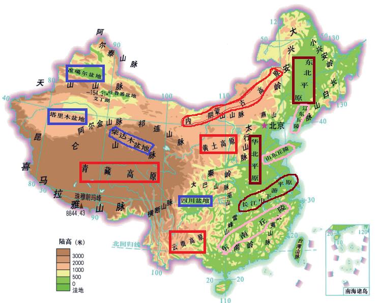 中国地形图(各大山脉,河流,地形位置及特征)
