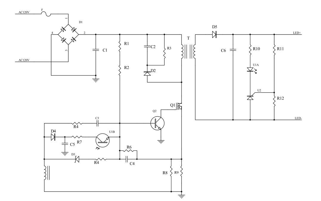 led灯电源原理图解析.麻烦讲解详细点,每个元器件的作用,怎么工作的.