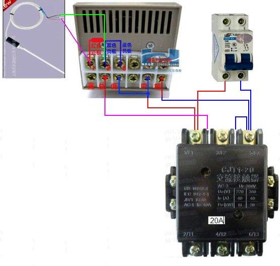 220v单向电温度控制仪 交流接触器 热电偶 4000w电炉 怎样接线才可以